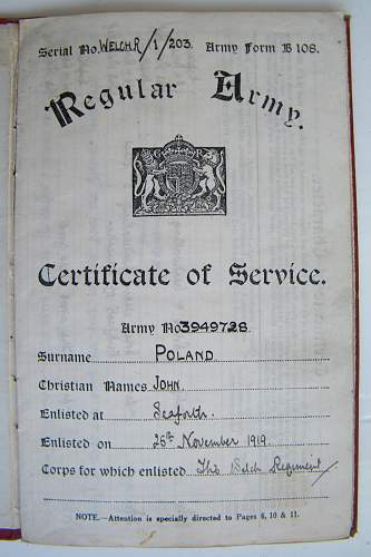interwar and WWII certificate of service book Welch, Kings, Cheshire, RWF regiments