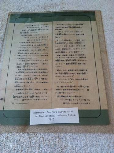 Surrender leaflet dropped  Guadal Canal and the Solomen Islands .....??????