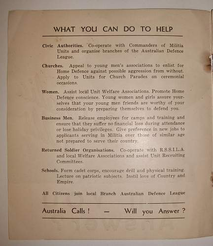 Australian 39th Militia AIF recruiting poster and booklet