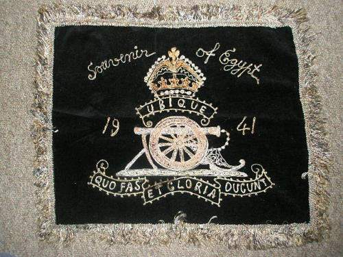 Royal Engineers photo post card and RE cushion