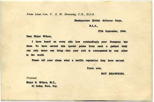 Letter from Lieut Gen Boy Brown to Major B Wilson, 21 Indep. Para. Coy after Market Garden.