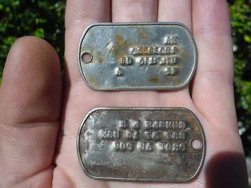Identification of US dog tags .