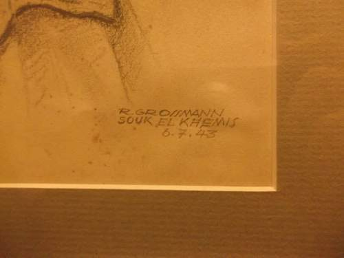 Original WW2 Pencil Portrait of Royal Artillery Lt.