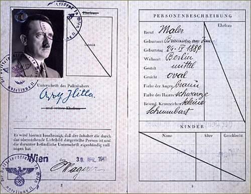 Adolf Hitler's fake passport