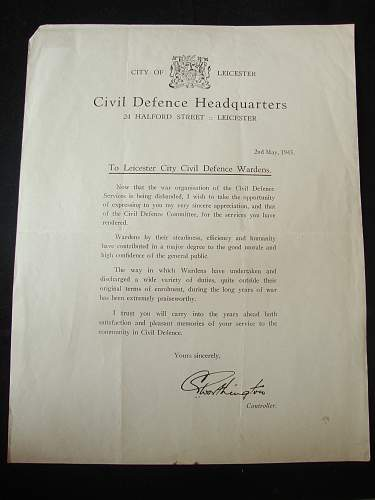 My new finds! Interesting letters regarding Leicester ARP wardens 1945