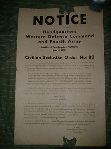 National Salvage Program and Civilian Exclusion Order Documents