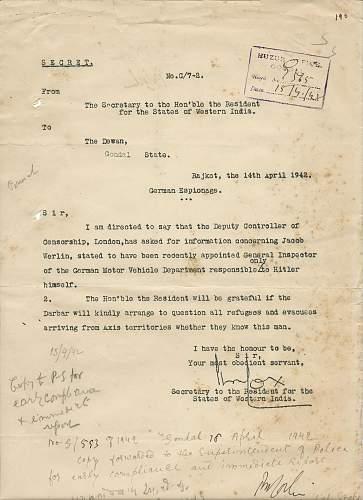 "WW2 Jakob Werlin document for comments ""SECRET"""