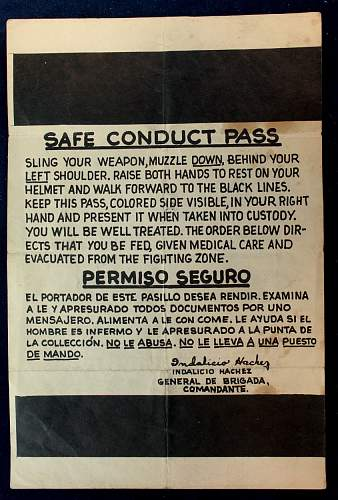 Safe Conduct Pass....'Training aid'?
