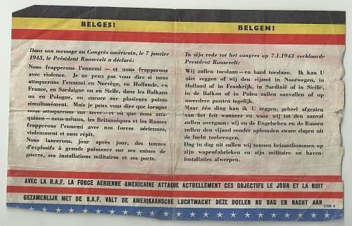 Allied Propaganda Leaflet for Belgium