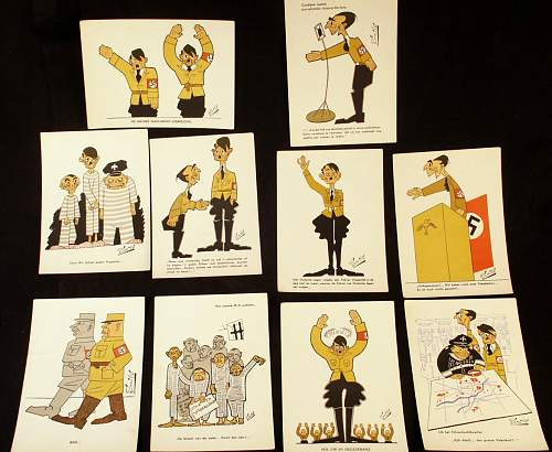 Dutch Postcards by Ton Smits ridiculing; Hitler, Goebbels, etc.