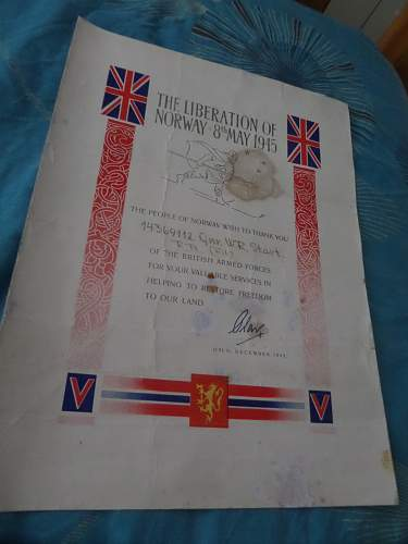 British army Certificate The Liberation of Norway 8th May 1945