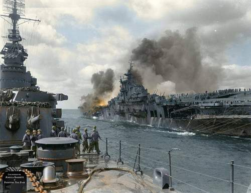 At approximately 0707hrs on 19th March, 1945, 'USS Franklin' suffered two direct hits from a pair of 500lb bombs dropped by a lone Japanese Yokosuka D4Y 'Judy' dive bomber.