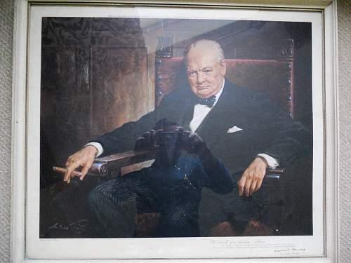 Original WW2 Winston Churchill Print 1943