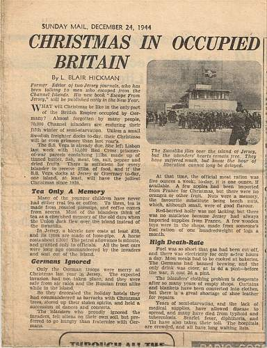 Sunday Mail, 24th December 1944 article on the Channel Islands.
