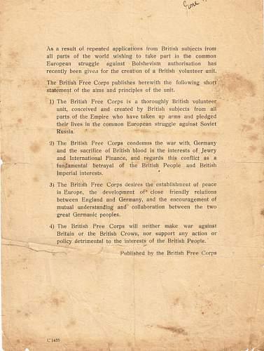 British Free Corps leaflet.