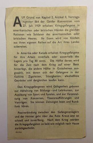 Allied safe conduct pass dropped on German troops