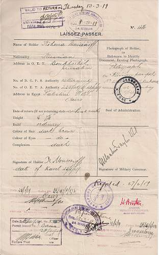 Click image for larger version.  Name:1919 Palestine - EEF - laissez passer JERUSALEM -.jpg Views:17 Size:227.9 KB ID:916073