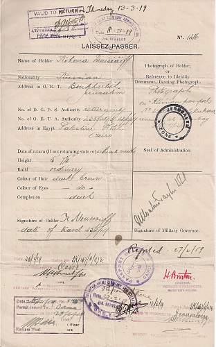 Click image for larger version.  Name:1919 Palestine - EEF - laissez passer JERUSALEM -.jpg Views:36 Size:227.9 KB ID:916073
