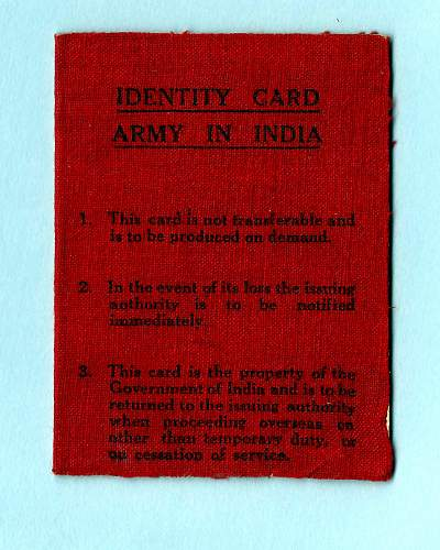 British India military ID...