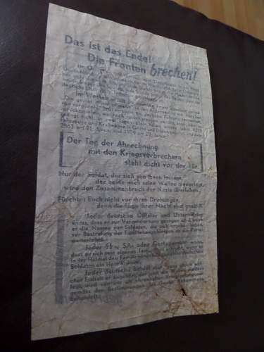 WW2 allied propaganda leaflet dropped on Germany by RAF
