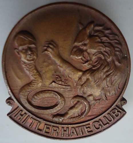 Hitler Hate Club Badge