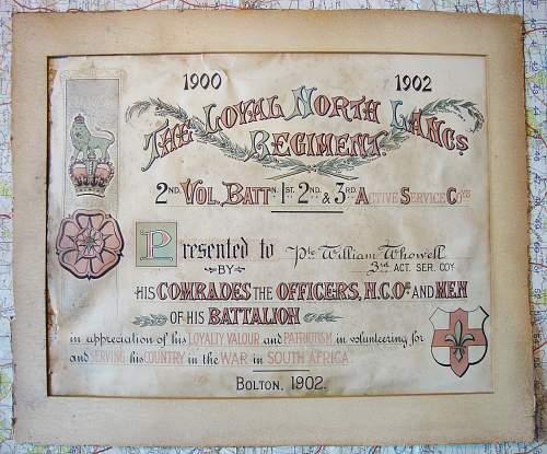 Boer war certificate - ww1 military medal winner -