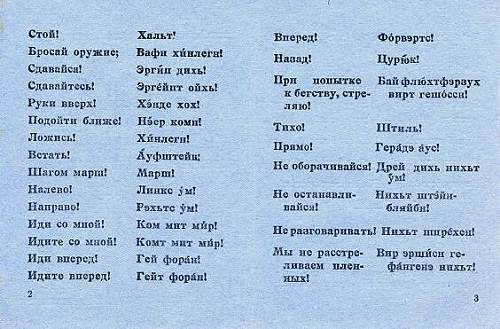 Small dictionary for soviet soldier