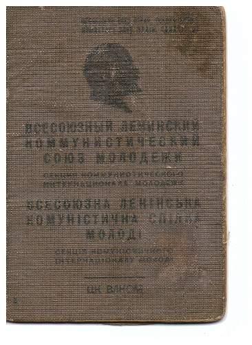 Soviet tanker's Komsomol (communist youth) book.