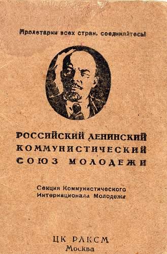 RLKSM (Komsomol) ID From 1925