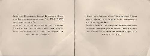 Invitation Cards from the Allied Commision in Finland