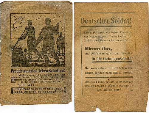 Soviet captivity flyers for German soldiers.