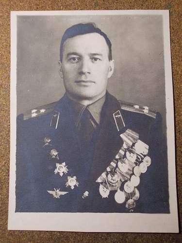 Photo of winner of 4 red banners/hero of soviet union.