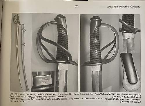 US Ames manufacture 1840 model sabers.