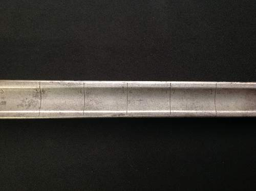 WW1 British Officers Sword with 1 inch ruler calibrations on blade