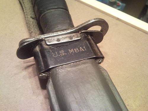 bayonet M8A1  for M1 Garand---no year of production and marks on blade? WW2 or not?