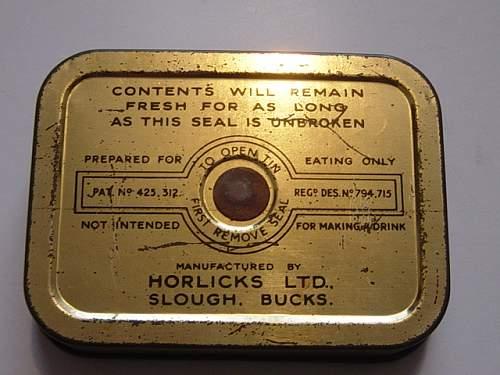 """British Horlicks tablets """"ration"""" tin"""