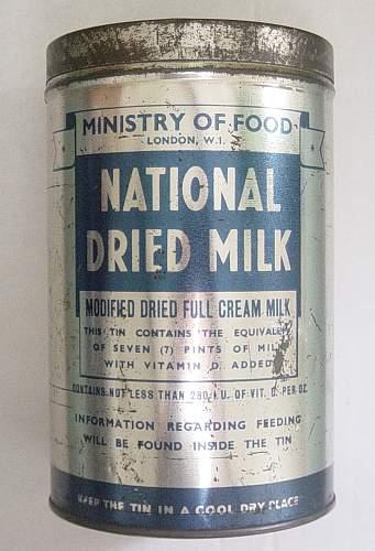 British Ministry of Food dried milk tin