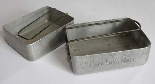 British Mess Tin, 1940 ~ Named to 1st Battalion, Leicestershire Regiment