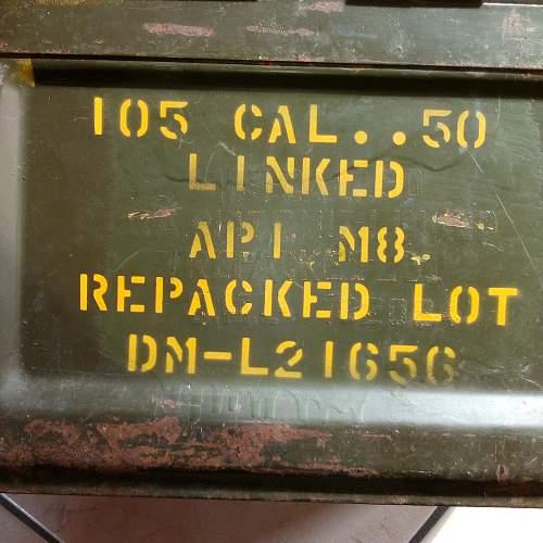 Cal 50 ammo box markings.
