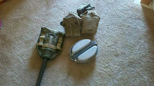 WW2 shovel, mess kit, and canttens.