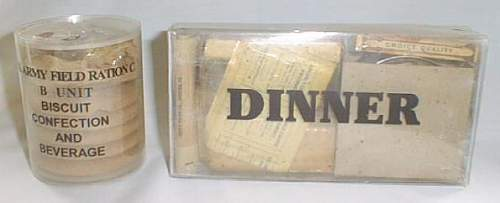 Let me makes these two WWII rations perfectly clear. A clear packaged C and K ration showing contents.