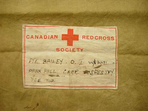Canadian Red Cross bag named to an ATS girl