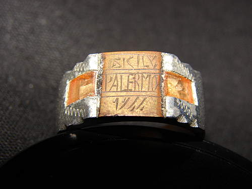 "Hand made 'primitive' ring, "" Sicily, Palermo, 1944"""