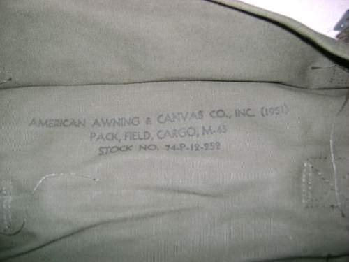 1951 US rucksack and field cap