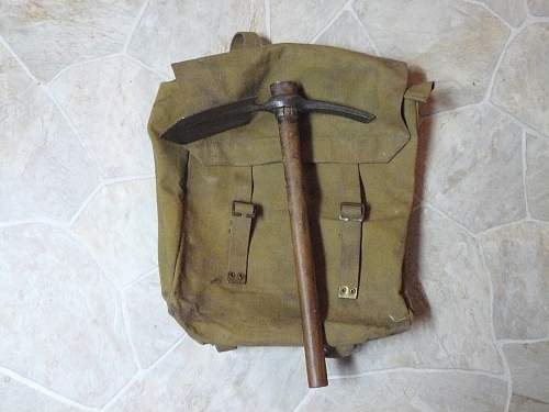 P-37 large pack and P-08 entrenching tool