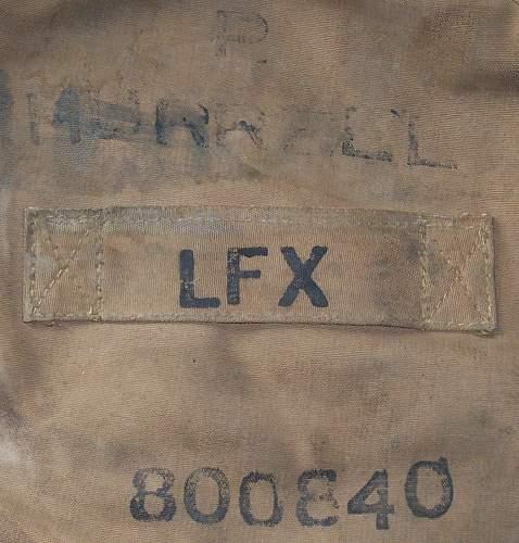 WW2 British kitbag markings.