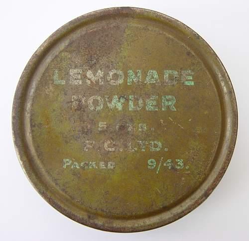 1943 British Lemonade Powder Ration tin.