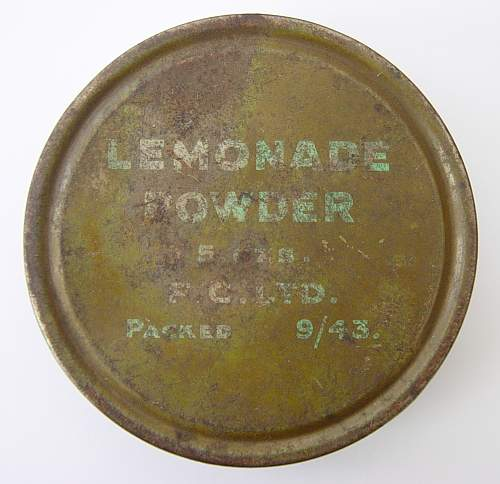 Click image for larger version.  Name:Lemonade Powder ration tin. 1943.jpg Views:597 Size:174.2 KB ID:495599