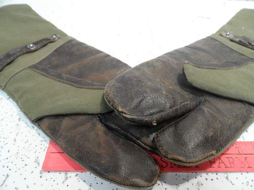 Unknown gloves - leather - OD canvas (NOT the yellow leather type)