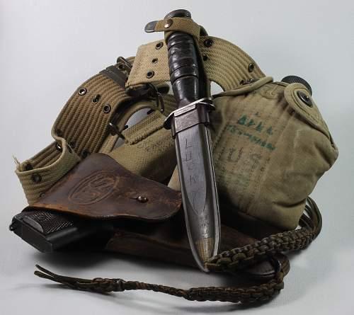 US pistol belt, 1911 holster, usm3 knife